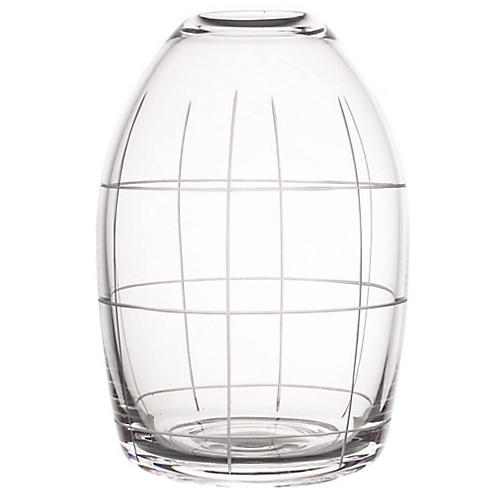 "7"" Wren Large Grid Vase, Clear"