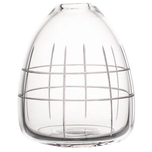 "5"" Wren Small Grid Vase, Clear"