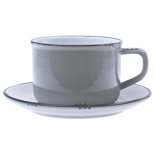 Tinware Cup & Saucer, Light Gray