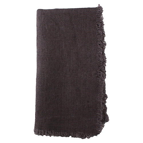 S/4 Fringed Linen Dinner Napkins, Brown