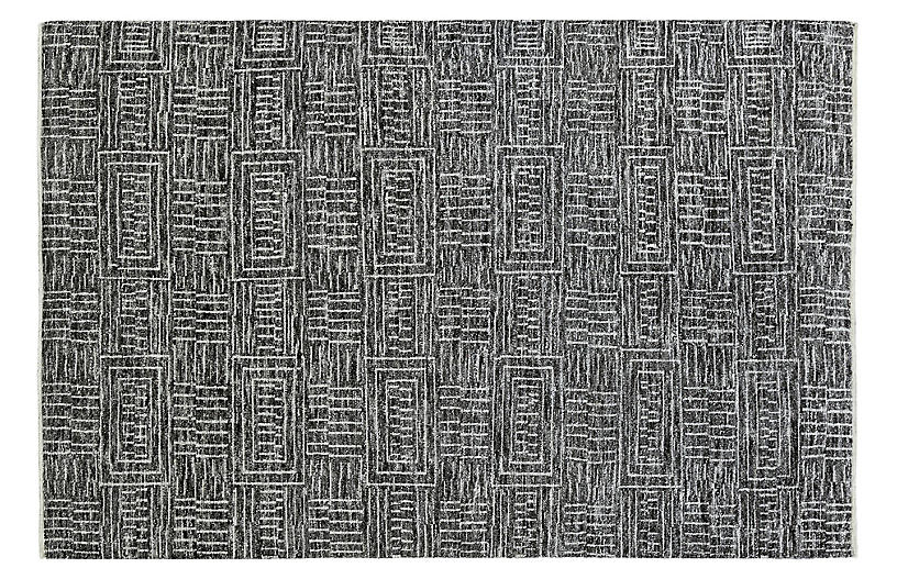 Inza Hand-Knotted Rug, Black