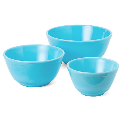 Asst. of 3 Comely Mixing Bowls, Robins Egg