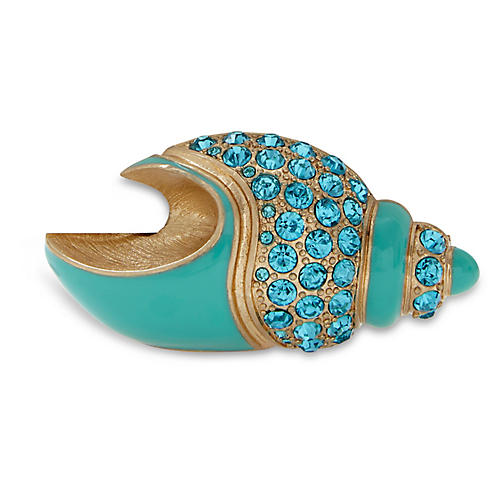 S/2 Shell Place-Card Holders, Turquoise