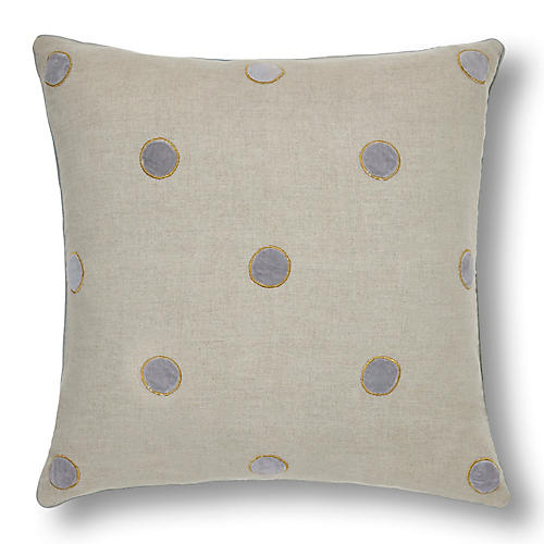 Dot 20x20 Pillow, Flax/Gray Linen