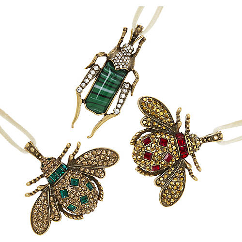 Asst. of 3 Jeweled Insect Ornaments, Gold/Multi