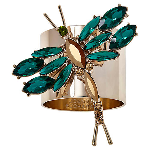 S/2 Dragonfly Napkin Rings, Gold/Emerald