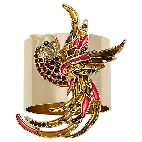 S/2 Joyful Bird Napkin Rings, Gold/Multi