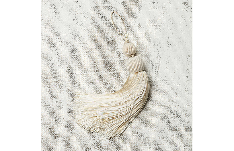 Luna Key Tassel, Metallic Ivory