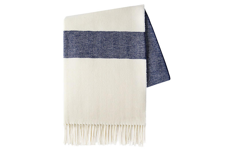 Sydney Stripe Cotton Throw, Navy