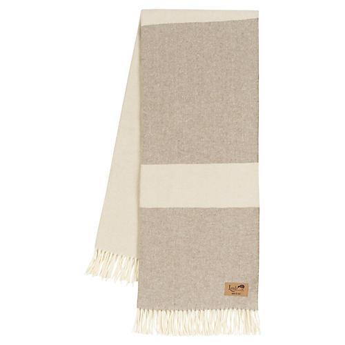 Color-Block Herringbone Cotton-Blend Throw, Barnwood/Birch