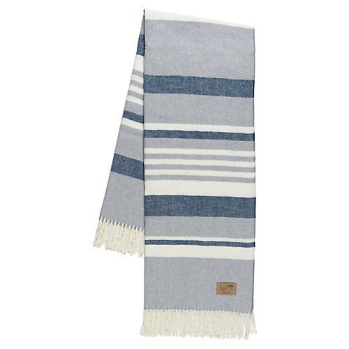 Portside Cotton-Blend Throw, Blue/Gray