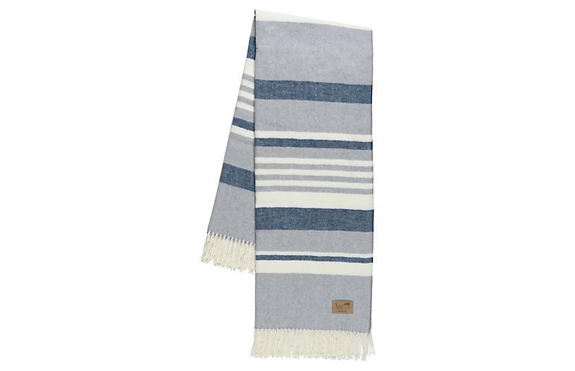 Portside Cotton Blend Throw, Blue/Gray