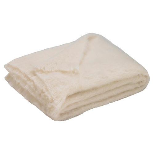 Brushed Alpaca Throw, Cream