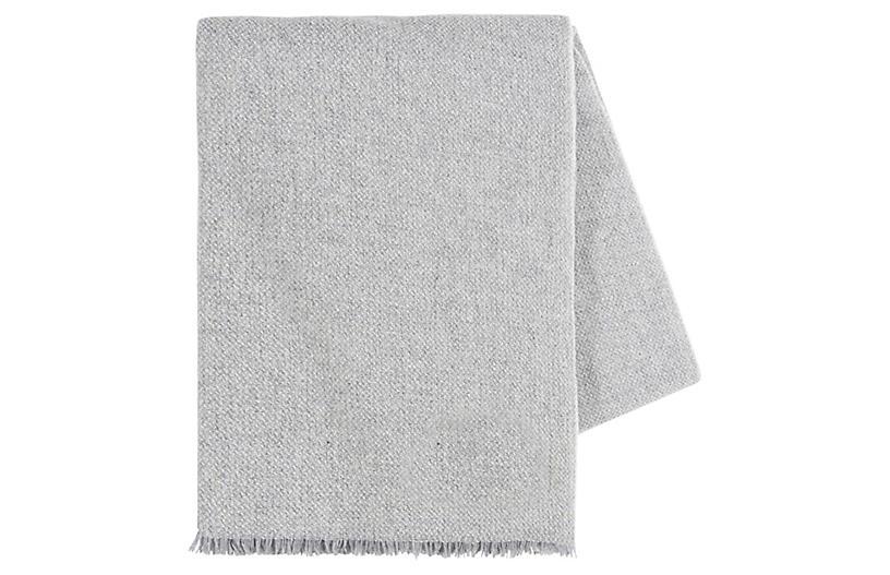 Italian Luna Cashmere Throw, Light Gray