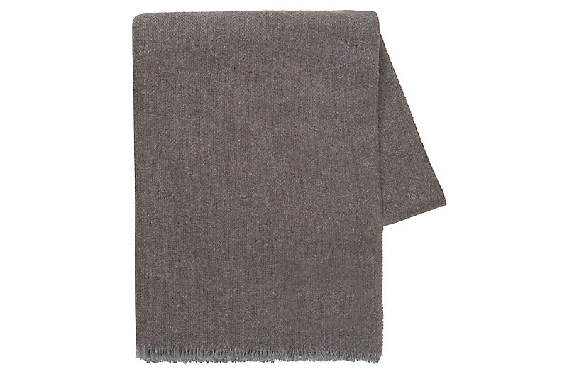 Italian Luna Cashmere Throw, Charcoal