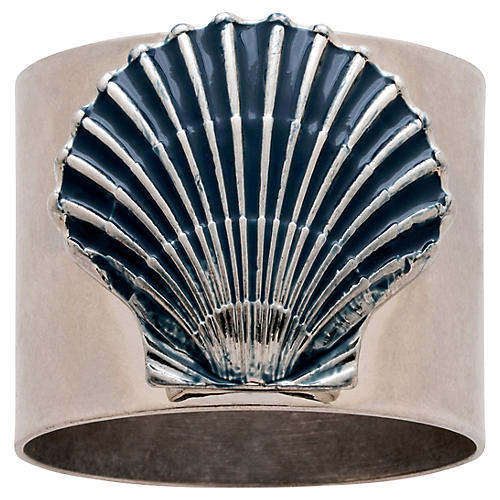 S/2 Painted Shell Napkin Rings, Silver/Blue