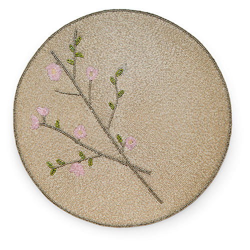 Cherry Blossom Place Mat, Taupe/Multi