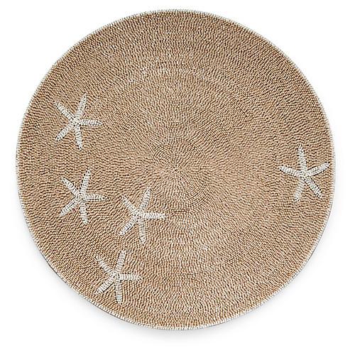 Starfish Place Mat, Taupe/White