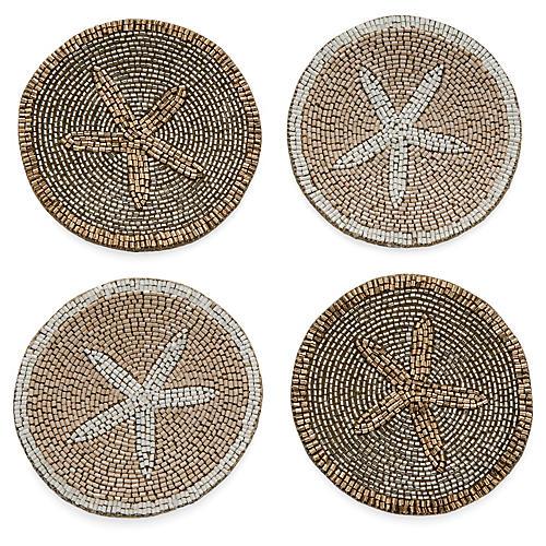 S/4 Starfish Coasters, Gold/Silver