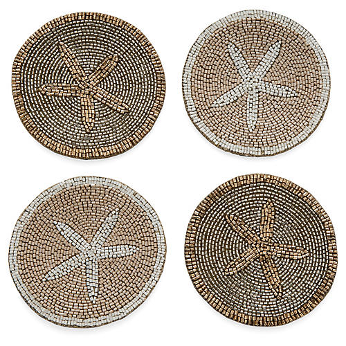 S/4 Starfish Coasters, Gold/Silver