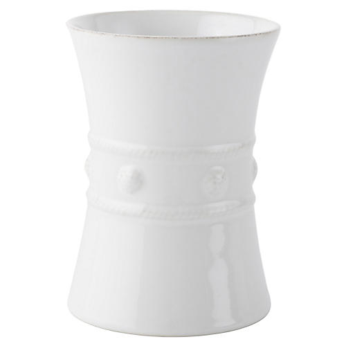 Berry & Thread Utensil Crock, White