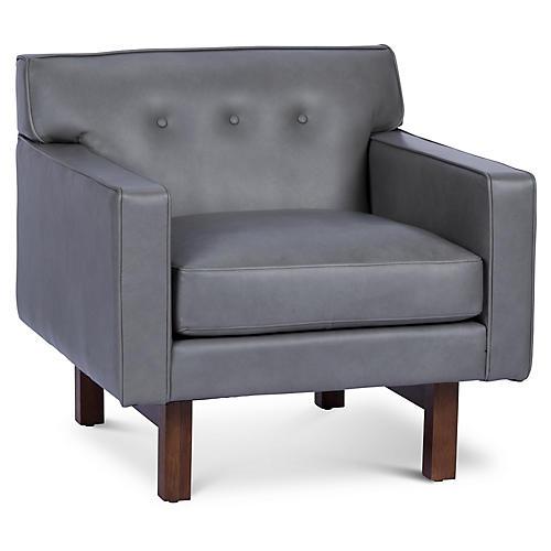 Rehder Club Chair, Silver Leather