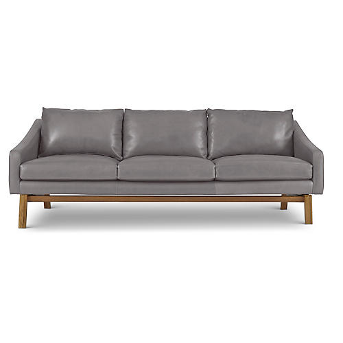 Dutch Sofa, Pewter Gray Leather