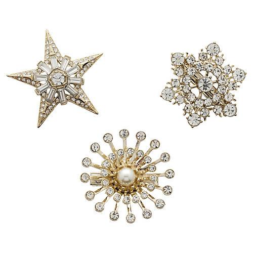 S/3 Star Clip Wreath Clips, Gold/Silver