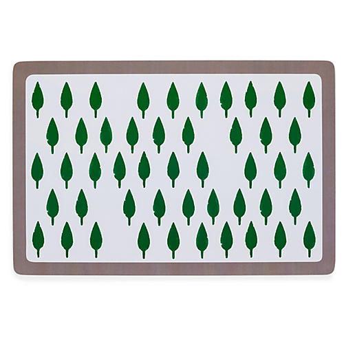 S/2 Tree Place Mats, Green/Gray