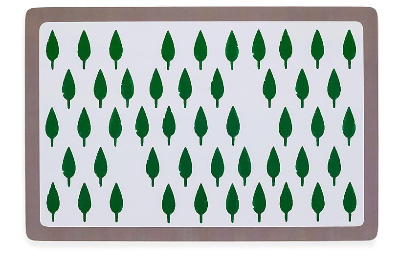 S/2 Tree Place Mats, Green/Gray