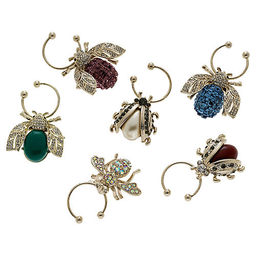 S/6 Bedazzled Bee Wine Charms, Silver/Multi