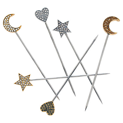 S/6 Celestial Cocktail Picks, Silver/Gold