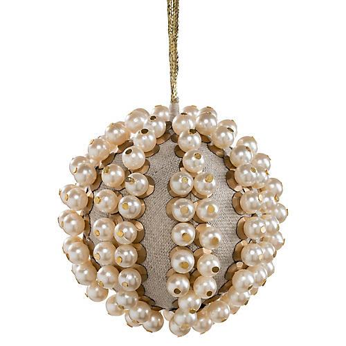 Pearl Ball Ornament, Tan