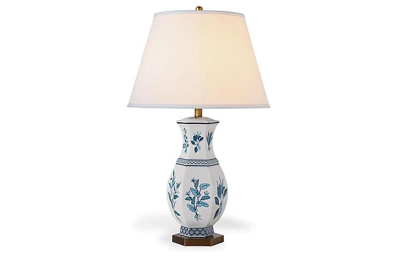 Botanical Table Lamp, Blue/White