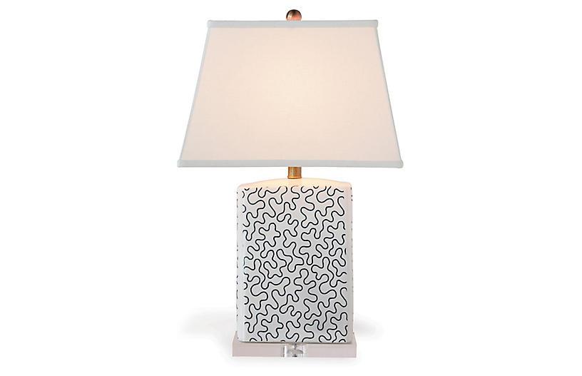 Venezia Table Lamp, Indigo/White