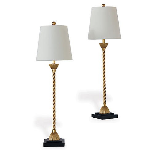 S/2 Delfern Buffet Table Lamps, Gold