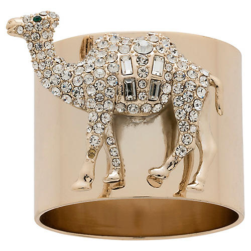 S/2 Camel Napkin Rings, Gold