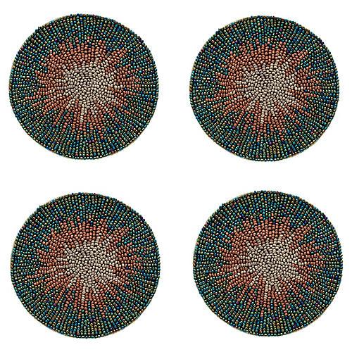 S/4 Ombré Coasters, Green/Multi
