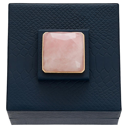 Faux-Crocodile Quartz Jewelry Box, Navy/Rose