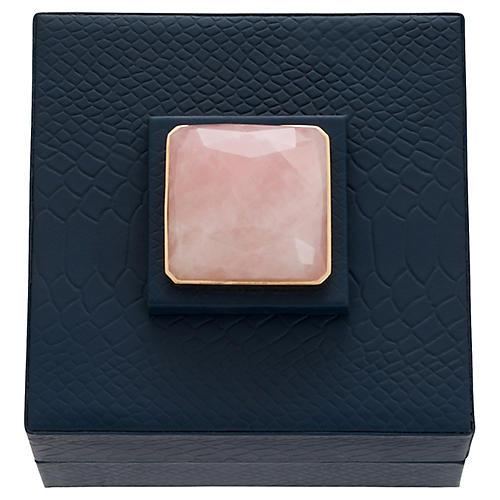 Faux-Crocodile Quartz Jewelry Box, Navy/Rose