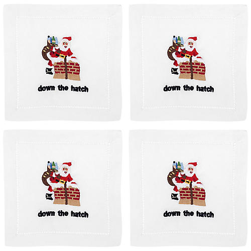 S/4 Down The Hatch Cocktail Napkins, White