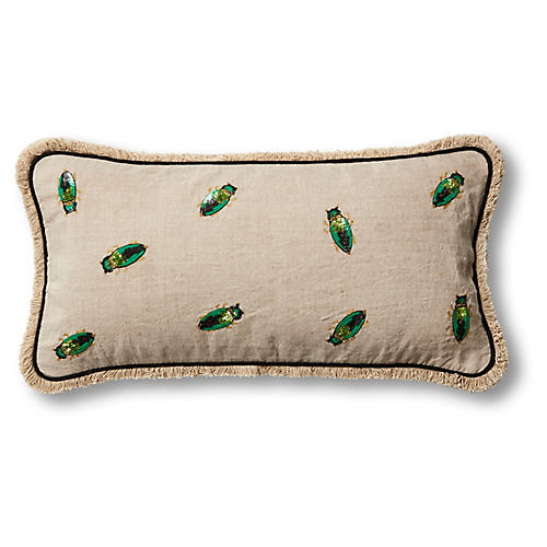 Embroidered Beetle 10x20 Pillow, Natural/Emerald Linen