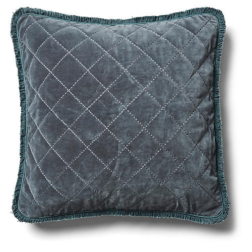 Quilted Fringe 20x20 Pillow, Dark Gray Velvet