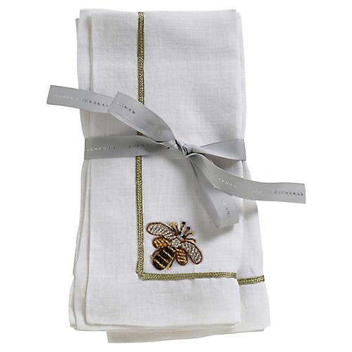 S/2 Bee Dinner Napkins, White/Gold