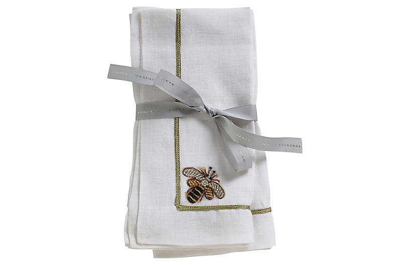 S/2 Bee Dinner Napkins, White/Gold