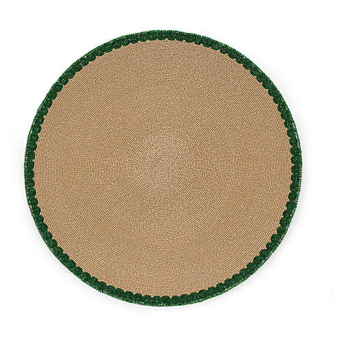 Scalloped-Edge Place Mat, Taupe/Green