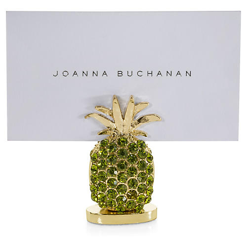 S/2 Pineapple Place-Card Holders, Gold/Green