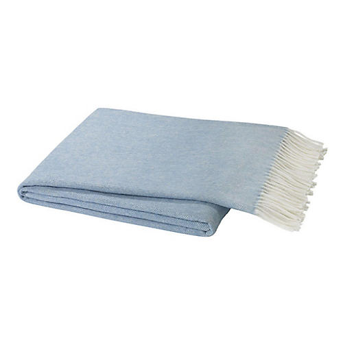 Herringbone Cotton Throw, Blue Denim