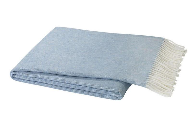 Herringbone Cotton Throw, Blue Denim