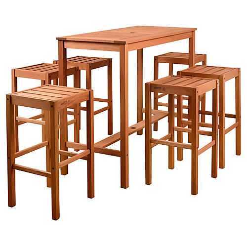 Westerdam 7-Pc Rectangular Bar Set, Natural
